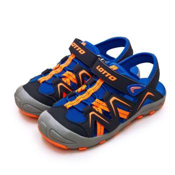 【LOTTO】中童 專業多功能護趾戶外運動涼鞋 FUN瘋玩系列(黑藍橘 1826)