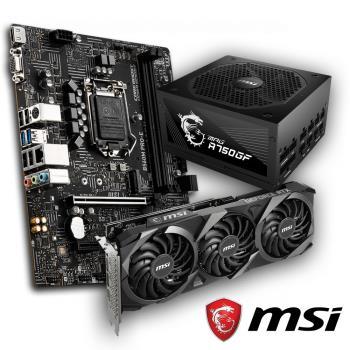 MSI 微星  RTX 3060 VENTUS 3X 12G OC 顯示卡(鎖算力) + B560M PRO-E 主機板 + A750GF 750W金