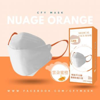久富餘 KF94韓版4層立體醫療口罩-雙鋼印-雲朵蜜橙10片/盒x10