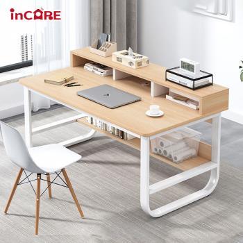 【Incare】多層架分隔收納鋼木電腦桌(100*63*70cm)
