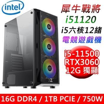【華碩平台】犀牛戰將i51120 六核電競遊戲機(i5-11500/B560/16G/1TB SSD/RTX3060 12G/750W)