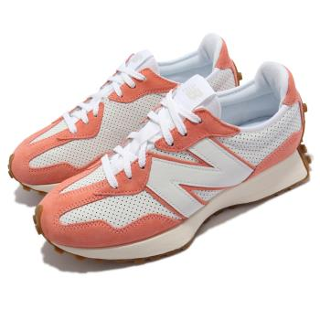 New Balance 休閒鞋 327 復古 N字鞋 男女鞋 紐巴倫 穿搭款 麂皮 皮革 異材質拼接 白 橘 MS327PN-D [ACS 跨運動]