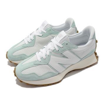 New Balance 休閒鞋 327 復古 N字鞋 男女鞋 紐巴倫 穿搭款 麂皮 皮革 異材質拼接 白 藍 MS327PP-D [ACS 跨運動]
