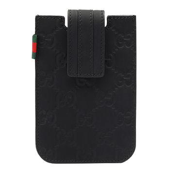 GUCCI Guccissima霧面牛皮IPHONE手機套-黑色