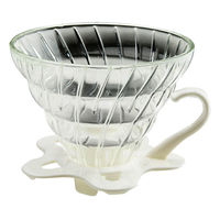 TIAMO V02 耐熱玻璃咖啡濾杯附咖啡匙+滴水盤 -HG5357W