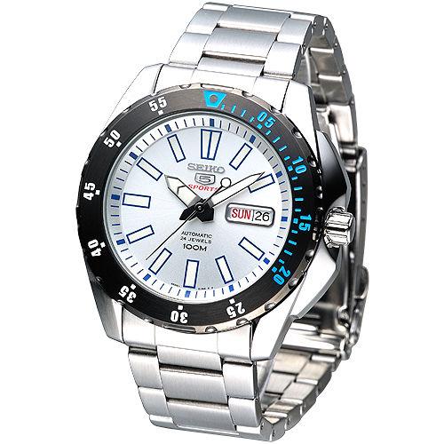 SEIKO 運動風尚5號24石自動機械錶-白/黑框