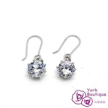 【約克精品】晶采單顆方晶鋯石包銠金鈦金屬勾式耳環(SGS認證)