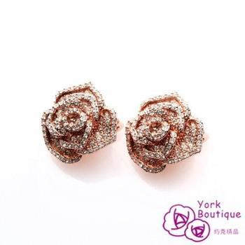 【約克精品】經典玫瑰花LOGO施華洛元素晶鑽鍍18K玫瑰金夾式耳環(SGS認證)