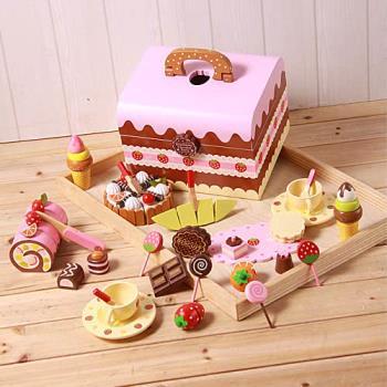 巧克力餅乾下午茶木製玩具手提組(木製蛋糕點心)