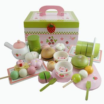 和風懷石茶會木製玩具手提組(木製抹茶蛋糕.木製茶罐.木製丸子)