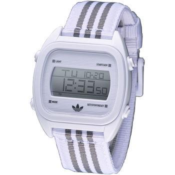 adidas 休閒運動風帆布電子腕錶-白ADH2732