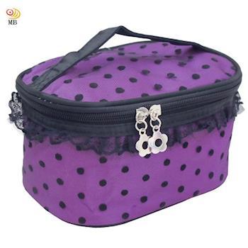 月陽韓版多功能蕾絲邊手提包旅行包洗漱包化妝包盥洗包(162)