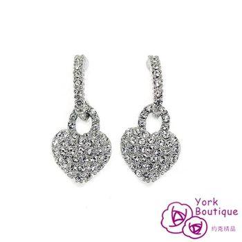 【約克精品】心機美人施華洛元素晶鑽包銠金鈦金屬針式耳環(SGS認證)