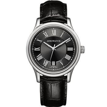 AEROWATCH 羅馬簡約時尚腕錶-黑A24962AA02