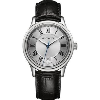 AEROWATCH 經典羅馬旗鑑腕錶-銀x黑A24962AA01