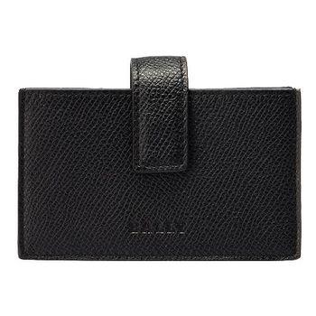 BALLY LOGO防刮牛皮壓紋釦式名片夾(黑色6175072001-BLACK