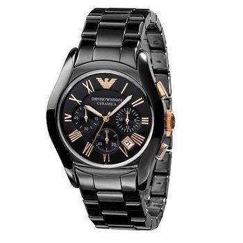 ARMANI 經典陶瓷三眼計時腕錶-黑/玫塊金 AR1410