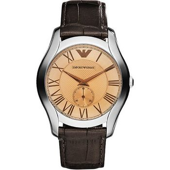ARMANI 羅馬時尚小秒針腕錶-香檳金/咖啡 AR1704
