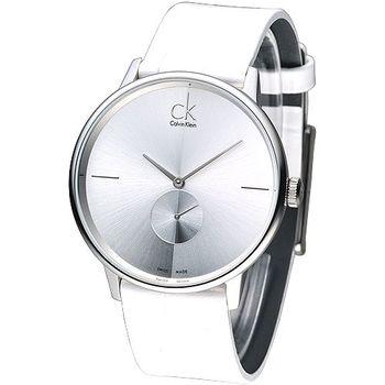 cK 魅力極簡小秒針品味風男錶-銀框 K2Y211K6
