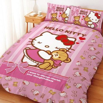 【享夢城堡】HELLO KITTY 我愛麻吉熊系列-雙人四件式床包涼被組