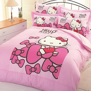 【享夢城堡】HELLO KITTY 蝴蝶結系列-單人純棉二件式床包組