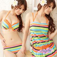 天使霓裳 繽紛普普風 三件式鋼圈比基尼泳裝 泳衣(彩色M~XL) RG310203