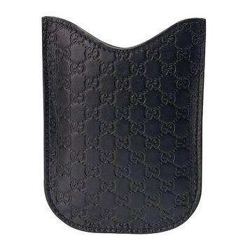 GUCCI 經典GG壓紋質感牛皮黑莓機保護套(深藍238687)