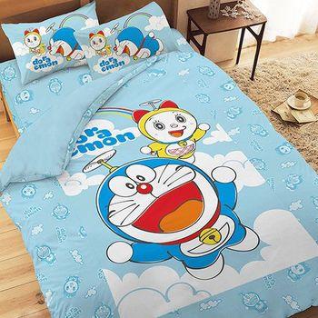【享夢城堡】哆啦A夢 天空漫遊系列-單人純棉三件式床包薄被套組(藍.粉)