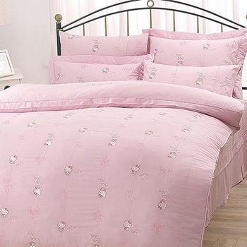 【享夢城堡】HELLO KITTY 優雅茶宴系列-雙人純棉四件式床包兩用被組