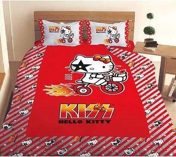 HELLO KITTY 凱蒂貓KISS熱火單人床包組-奔馳腳踏車篇