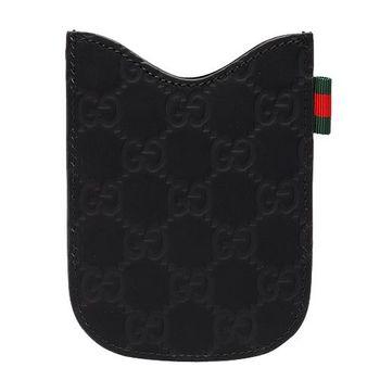 GUCCI 經典Guccissima GG壓紋霧面牛皮黑莓機保護套(黑7)