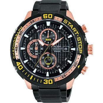 ALBA SignA 疾速奔馳計時腕錶-黑x玫瑰金VD57-X016K