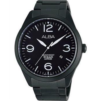 ALBA 街頭玩酷時尚藍寶石水晶腕錶-IP黑(VJ42-X126SD)