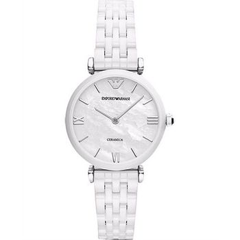 ARMANI Retro 時尚薄型陶瓷女錶-珍珠貝x白 AR1485