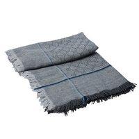 GUCCI 經典條紋飾邊GG緹花混紡針織披肩/圍巾(灰X淺藍328847)