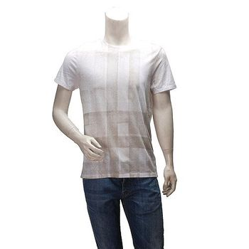 BURBERRY 經典格紋漸層棉質圓領短袖T恤(白-M)3904598-WHITE