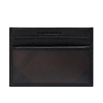 BURBERRY 經典格紋PVC皮革飾邊證件卡套/卡夾(咖啡X黑)3695244-CHOCOLATE