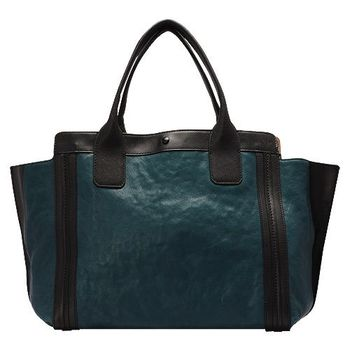 CHLOE 經典Alison系列撞色拼接牛皮手提包(小-黑X熱帶藍)3S0164