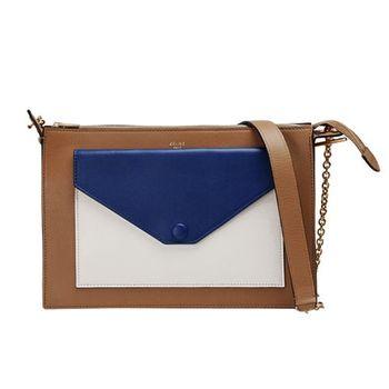 CELINE 專櫃新款Pocket撞色小牛皮金鍊肩背/斜背包(棕X藍X米色)175083UNA