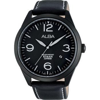 ALBA 街頭玩酷時尚藍寶石水晶腕錶-黑VJ42-X126C