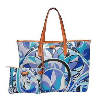 EMILIO PUCCI 經典幾何印花牛皮飾邊PVC子母購物包(大-松石綠-附萬用小袋)41BE10