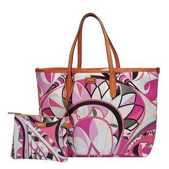 EMILIO PUCCI 經典幾何印花牛皮飾邊PVC子母購物包(大-粉紅-附萬用小袋)41BE10