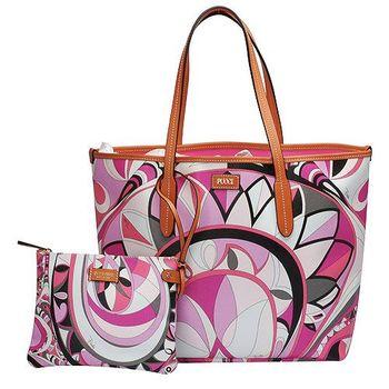 EMILIO PUCCI 經典幾何印花牛皮飾邊PVC子母購物包(中-粉紅-附萬用小袋)41BE15