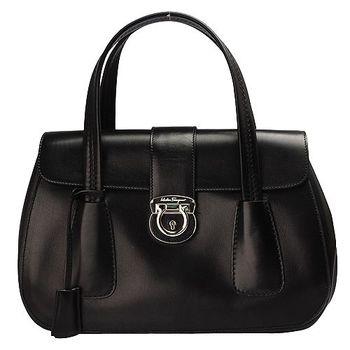 Salvatore Ferragamo 經典馬蹄鎖釦小牛皮雙層手提包(黑)XE0556-001