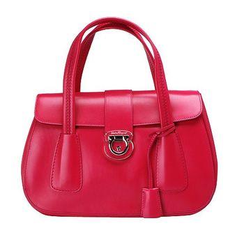 Salvatore Ferragamo 經典馬蹄鎖釦小牛皮雙層手提包(玫瑰紅XE0556-017-ROSA)