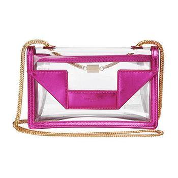 YSL 經典MINI BETTY BAG系列小羊皮飾邊透明PVC金鍊肩背包(金屬紫紅)314516-1689