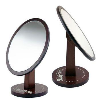 橢圓形木製立鏡 鏡子 立鏡 化妝鏡 桌鏡