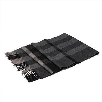 BURBERRY 經典方格紋喀什米爾羊毛披肩/圍巾(200CM-深木炭灰)37667701-DARK