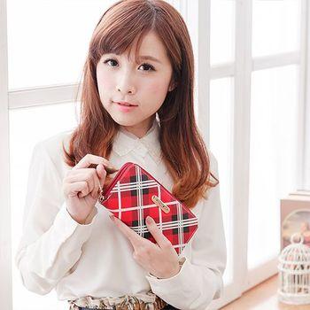 【XINWEI POLO】經典女伶紅格拉鍊長夾