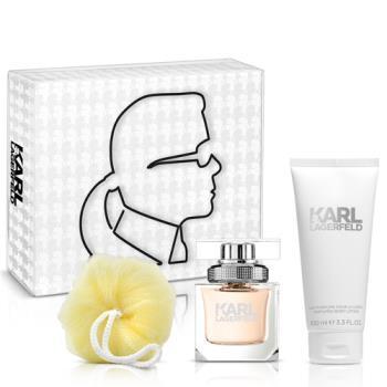 【即期品】Karl Lagerfeld卡爾?拉格斐 卡爾同名時尚女性淡香精禮盒(淡香精45ml+身體乳100m+沐浴球)